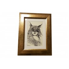 Norwegian Forest Cat in Golden Frame