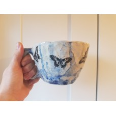 Clay mug: change and butterflies - SOLD